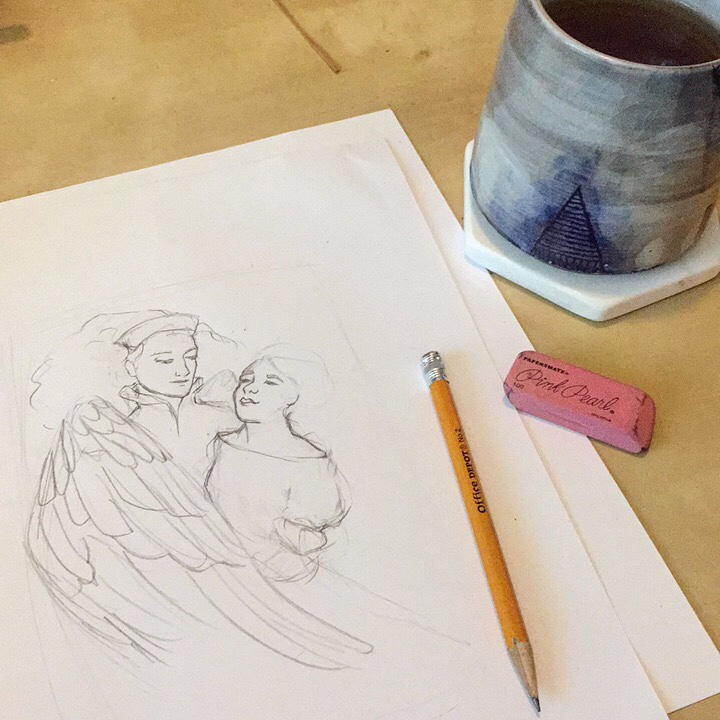 An in-progress sketch of two women, one with wings. Also visible is a pencil, pink pearl eraser, and a mug.